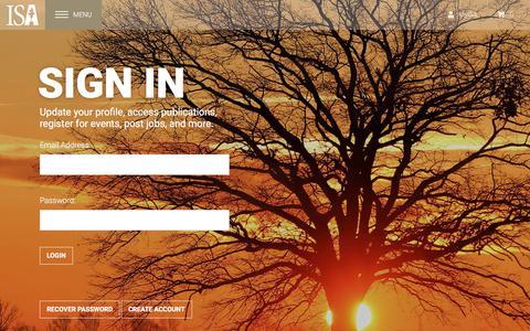 Screenshot of Login Page isa-arbor.com - International Society of Arboriculture - captured Sept. 23, 2018