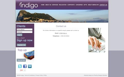 Screenshot of Contact Page indigo.gi - Gibraltar's Relocation & Lifestyle Management Specialists - CONTACT US - captured Sept. 30, 2014