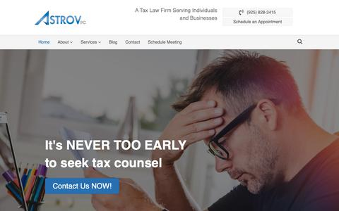 Screenshot of Home Page astrovlaw.com - Astrov PC - A Tax Law Firm Serving Individuals and Businesses - captured Oct. 4, 2018