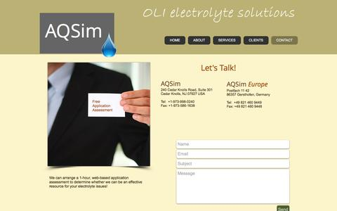 Screenshot of Contact Page aqsim.com - AQSim contact information - captured Nov. 19, 2016
