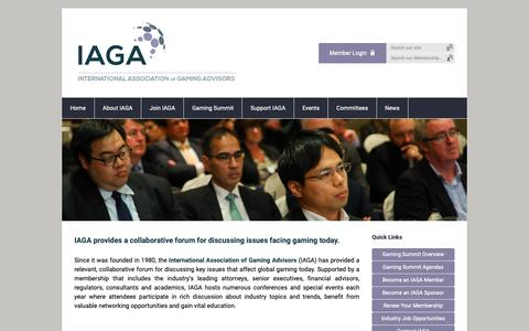 Screenshot of Home Page theiaga.org - Home - captured Oct. 12, 2018