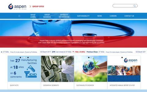 Screenshot of Home Page aspenpharma.com - Aspen Holdings - captured March 6, 2017
