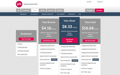 Screenshot of Pricing Page yola.com - Yola   Preise, Premium-Pakete im Vergleich - captured Nov. 16, 2016