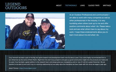 Screenshot of Testimonials Page legend-outdoors.com - Testimonials - captured Dec. 9, 2015