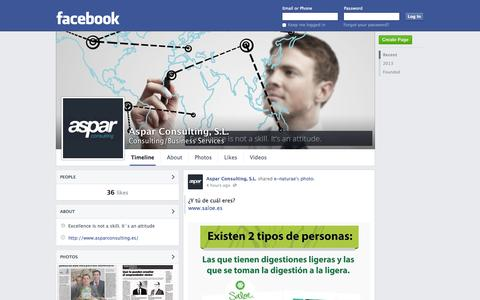 Screenshot of Facebook Page facebook.com - Aspar Consulting, S.L. | Facebook - captured Oct. 22, 2014