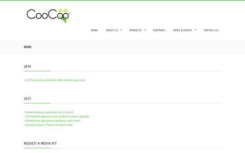 Screenshot of Press Page coocoo.com - News | CooCoo - captured Sept. 13, 2014