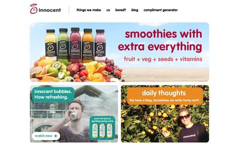 Screenshot of Home Page innocentdrinks.co.uk - innocent – 100% pure fruit smoothies, orange juice, kids smoothies and tasty veg pots - captured Dec. 4, 2017