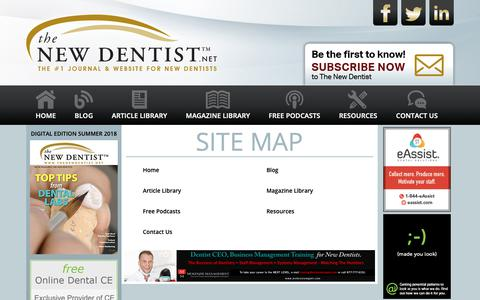 Screenshot of Site Map Page thenewdentist.net - The New Dentist – New Dentist Resources, New Dentist Buzz Blog, New Dentist Practice Management, New Dentist Practice Issues, New Dentist Start Up - captured Oct. 20, 2018