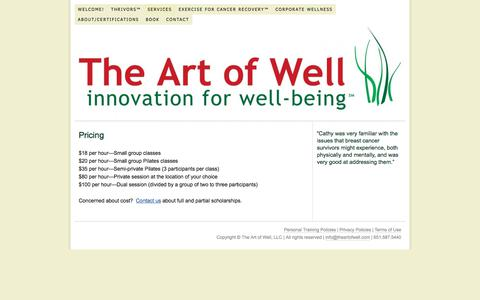 Screenshot of Pricing Page theartofwell.com - Pricing — The Art of Well - captured June 19, 2017