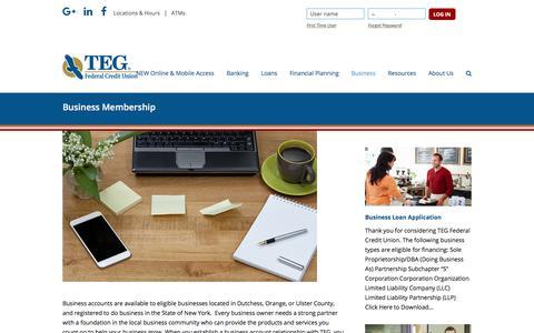 Screenshot of tegfcu.com - Business Membership – TEG Federal Credit Union - captured Dec. 2, 2017