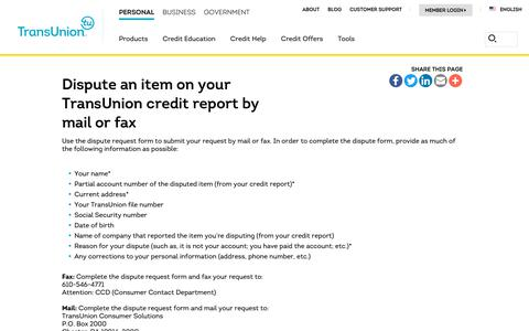 Screenshot of Support Page transunion.com - Dispute Credit Report by Mail or Fax | Transunion - captured Oct. 24, 2018