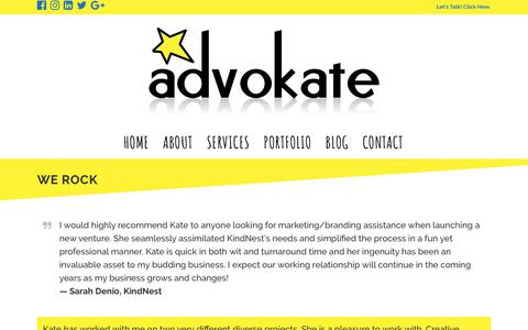 Screenshot of Testimonials Page advokate.net - Advokate Web Design |   We Rock - captured July 29, 2018