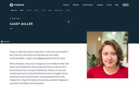Screenshot of Team Page mapbox.com - Casey Miller   Mapbox - captured Feb. 19, 2019