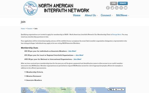 Screenshot of Signup Page nain.org - Join «  NAIN – North American Interfaith Network - captured Oct. 7, 2014
