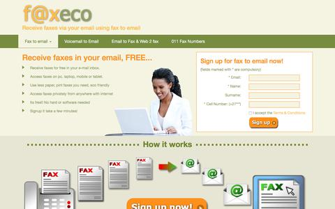 Screenshot of Home Page faxeco.co.za - Fax To Email, Free Fax to Email Number Service South Africa - captured Oct. 14, 2017