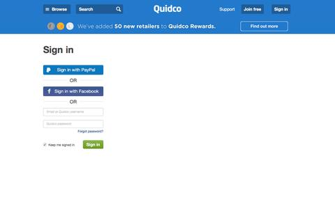 Screenshot of Login Page quidco.com - Quidco - Sign In - captured July 9, 2016