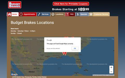 Screenshot of Locations Page budgetbrakes.com - Brake Shop Locations in Alabama, Florida & Tennessee - captured Nov. 6, 2018