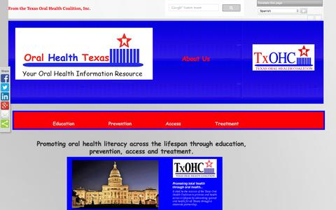 Screenshot of About Page oralhealthtexas.org - About TxOHC - captured March 15, 2016