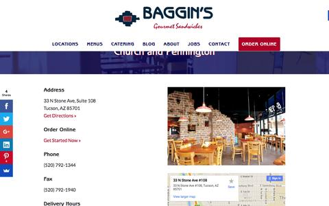 Screenshot of bagginsgourmet.com - Church and Pennington - Baggin's Gourmet - captured March 20, 2016