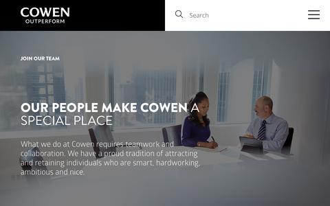 Screenshot of Signup Page cowen.com - Join Our Team | COWEN - captured May 19, 2017