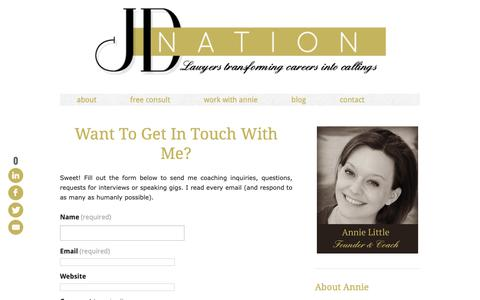 Screenshot of Contact Page thejdnation.com - contact annie little - captured Oct. 1, 2018