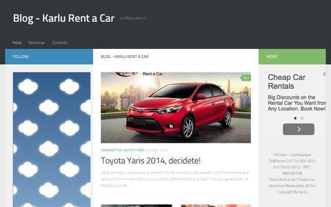 Screenshot of Blog karlu.com.pe - Blog - Karlu Rent a Car - Lo Mejor para ti... - captured Feb. 12, 2016