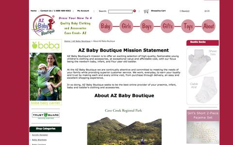 Screenshot of About Page azbabyboutique.com - About AZ Baby Boutique - captured Sept. 30, 2014