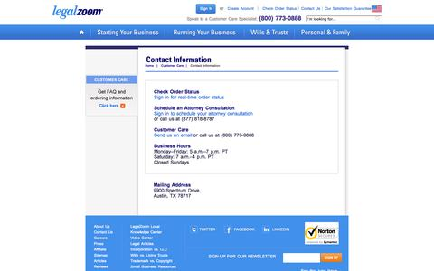 Screenshot of Contact Page legalzoom.com - Customer Support - Contact Us - LegalZoom - captured June 16, 2015