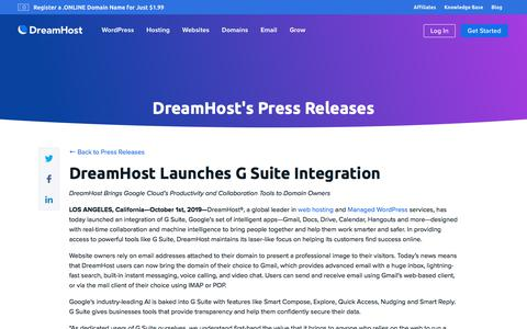 Screenshot of Press Page dreamhost.com - DreamHost Launches G Suite Integration  – DreamHost - captured Feb. 21, 2020