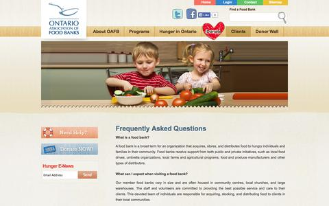 Screenshot of FAQ Page oafb.ca - The Ontario Association of Food Banks - captured Oct. 26, 2014