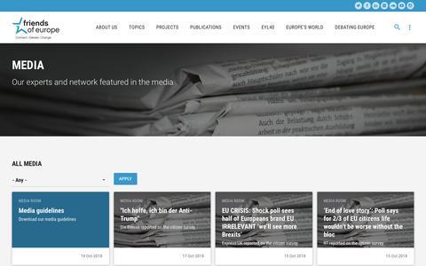 Screenshot of Press Page friendsofeurope.org - Media   Friends of Europe - captured Nov. 6, 2018