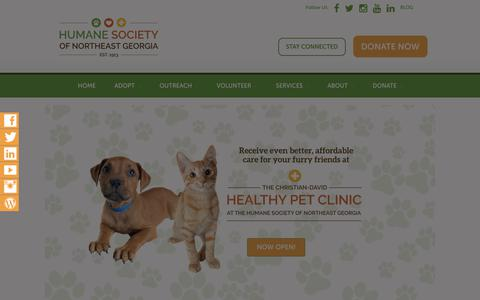 Screenshot of Home Page humanesocietyofnortheastgeorgia.org - Home - Humane Society of Northeast Georgia - captured July 22, 2018