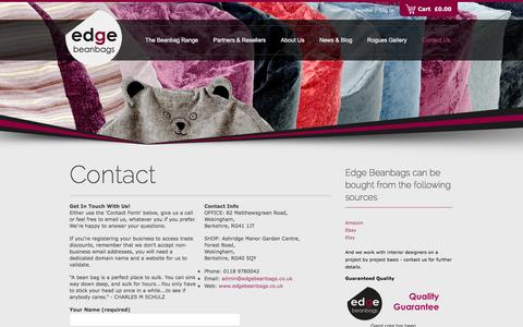 Screenshot of Contact Page edgebeanbags.co.uk - Contact Edge Beanbags - captured April 14, 2016