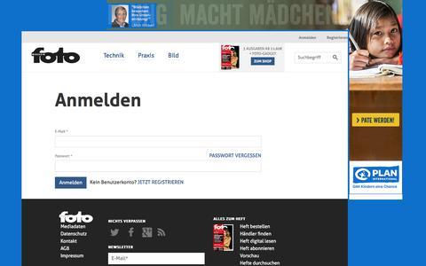 Screenshot of Login Page fotomagazin.de - Anmelden | fotomagazin.de - captured Oct. 30, 2017
