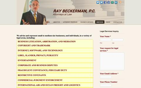Screenshot of Services Page beckermanlegal.com - Services - Ray Beckerman, P.C. - captured Oct. 26, 2014