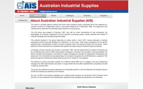 Screenshot of About Page aisnational.com.au - About Us | Australian Industrial Supplies - captured Oct. 4, 2014