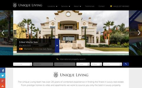Screenshot of Home Page uniqueliving.com - Luxury Homes and Real Estate from Unique Living - captured Sept. 19, 2014