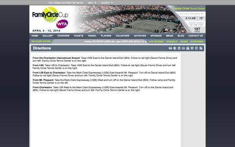 Screenshot of Maps & Directions Page familycirclecup.com - Family Circle Cup - captured Sept. 30, 2014