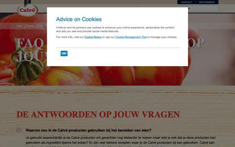 Screenshot of FAQ Page calve.nl - FAQ Calvé - captured Oct. 22, 2018