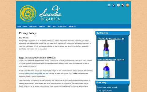 Screenshot of Privacy Page saadiaorganics.com - Privacy Policy   Saadia Organics Argan Oil   100% Pure, Authentic, Eco-Friendly and Ethical Argan - captured Sept. 18, 2014