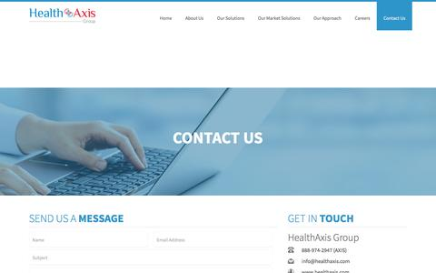 Screenshot of Contact Page healthaxis.com - Contact Us-HealthAxis Group - captured May 16, 2017