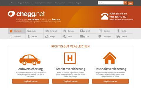 Screenshot of Home Page chegg.net - chegg.net | Versicherungsrechner mit persönlicher Betreuung vor Ort - captured Sept. 17, 2015