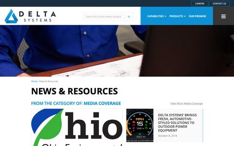 Screenshot of Press Page deltasystemsinc.com - News & Resources   Electronics Components Innovations                 Delta Systems - captured Dec. 7, 2018