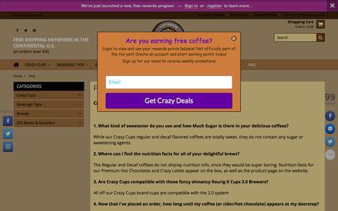 Screenshot of FAQ Page crazycups.com - Crazy Cups FAQ - captured July 21, 2018