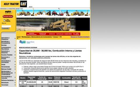 Screenshot of Landing Page kellytractor.com - Montacargas Doosan de Combustión Interna y Llantas Neumáticas - captured Aug. 12, 2016