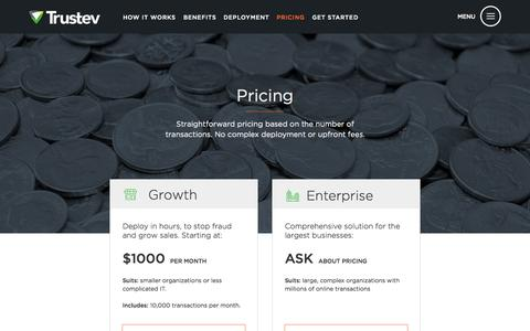 Screenshot of Pricing Page trustev.com - Pricing based on volume | No complex fees - captured Aug. 11, 2015