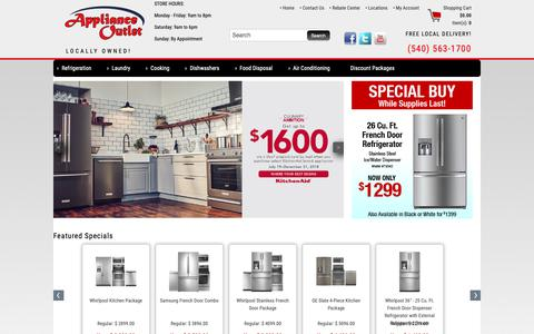 Screenshot of Home Page applianceo.com - Appliances in Roanoke VA | Appliance Outlet - captured Oct. 3, 2018