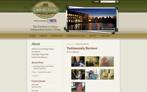 Screenshot of Testimonials Page cambridgevillageofapex.com - Testimonials/Reviews - Cambridge Village of Apex - captured Sept. 27, 2014