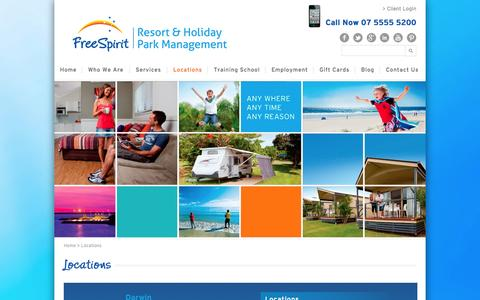 Screenshot of Locations Page freespiritresorts.com.au - Caravan Parks in Darwin, Hervey Bay and Adelaide - Book Now - captured Oct. 6, 2014