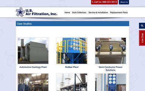 Screenshot of Case Studies Page usairfiltration.com - Dust Collector & Dust Collection Case Studies – US Air Filtration | US Air Filtration - captured Sept. 30, 2014
